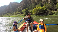 American Caucasian family enjoying rafting on Colorado River outdoors - stock footage