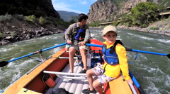 Happy American family having fun trip on Colorado River on Summer vacation - stock footage