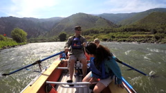 American Caucasian family having fun trip on Colorado River on vacation outdoor - stock footage