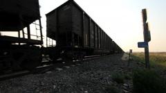 Diesel freight train locomotive near Chimney Rock Nebraska USA - stock footage