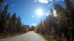 POV road trip driving through Icefields Parkway in Canada - stock footage