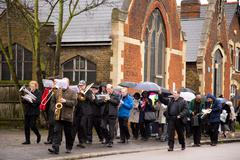LONDON - MARCH 29TH: Unidentified people at a palm sunday procession on March - stock photo