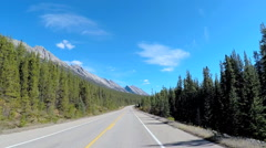 POV road trip driving through the scenic beauty of Icefields Parkway in Canada - stock footage