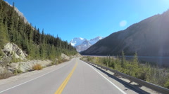 POV road trip driving through Icefields Parkway in Canada Stock Footage