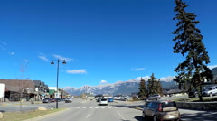 POV driving into Jasper town in Icefields Parkway Alberta Canada Stock Footage