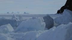 Group of icebergs on the Arctic horizon. - stock footage