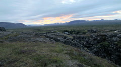 Aerial view of Rift zone Thingvellir Golden Circle Iceland - stock footage