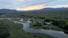Aerial sunset view of Rift zone Thingvellir Golden Circle Iceland - stock footage
