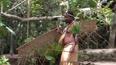 South Pacific Native Walking Stock Footage