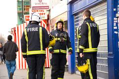 LONDON - APRIL 9TH: The fire brigade attend an emergency in Tottenham on Apri - stock photo