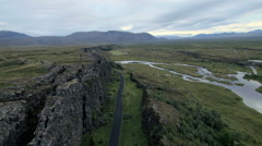 Aerial view of Rift zone Thingvellir Golden Circle Iceland Stock Footage