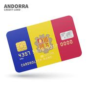 Credit card with Andorra flag background for bank, presentations and business Stock Illustration