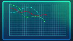 Stock Video Footage of Animated line chart showing decline of financial indices during financial crisis