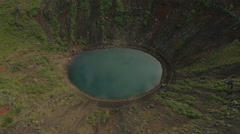 Aerial view Kerid Crater Lake within the Golden Circle Iceland Stock Footage