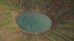 Aerial view Kerid Crater Lake an extinct volcano Iceland - stock footage