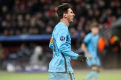 Leverkusen, Germany- December 9, 2015: Lionel Messi during the UEFA Champions - stock photo