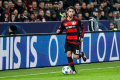 Stock Photo of Leverkusen, Germany- December 9, 2015: Hakan Calhanoglu  during the UEFA Cham