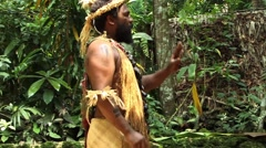 South Pacific Native Man Trible Leader - stock footage