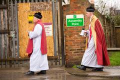 LONDON - MARCH 29TH: the priests at a palm sunday procession on March the 29t Stock Photos