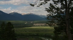 The large valley within the Bugaboo Mountain range, British Columbia. Zoom Stock Footage