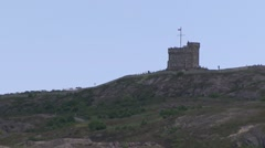 Cabot Tower sitting upon Signal Hill in St. John Harbour, Newfoundland. Stock Footage