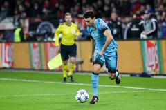 Leverkusen, Germany- December 9, 2015: Munir El Haddadi during the UEFA Champ - stock photo