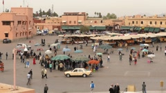 Morning Jemaa el-Fnaa square in Marrakesh time lapse Stock Footage