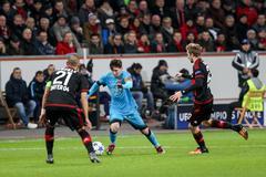 Bayer 04 Leverkusen vs Barcelona Champions League Stock Photos