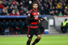 Stock Photo of Leverkusen, Germany- December 9, 2015: Jonathan Tah during the UEFA Champions