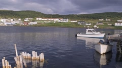 Boats docked in Conche, Newfoundland & Labrador. Stock Footage
