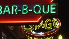 Neon signs in the Nashville downtown strip. - stock footage