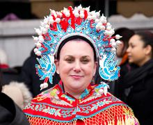LONDON - FEBRUARY 22nd: The god of fortune's wife at the Chinese new year cel - stock photo