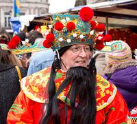 LONDON - FEBRUARY 22nd: The god of fortune at the Chinese new year celebratio Stock Photos