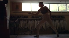 Fencer attacking a practice dummy. Stock Footage