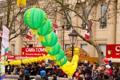 LONDON - FEBRUARY 22nd: Lanterns at the Chinese new year celebrations on Febr - stock photo