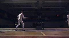 Two fencers sparring while practicing. Stock Footage