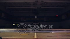 A fencer spars with her coach. - stock footage