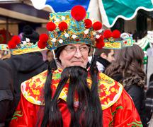 LONDON - FEBRUARY 22nd: The god of fortune at the Chinese new year celebratio - stock photo