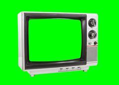 Old Television Isolated with Chroma Key Background - stock photo