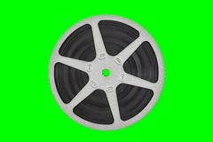 Old Metal Film Reel Isolated with Chroma Key Background - stock photo