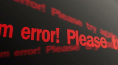 System error. Please try again text running on screen. Operating system warning - stock footage