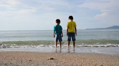 Two young boys standing on the beach and look into the far ocean - stock footage