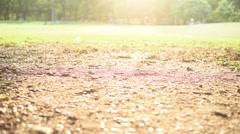Lonely girl walk on the grass, in the nature park Stock Footage