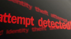 Warning, identity theft attempt detected. Fraud prevention. Red text running - stock footage