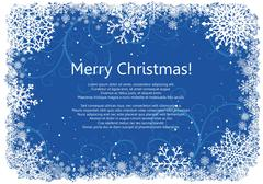 Christmas frame with snowflakes over blue background Stock Illustration