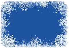 Christmas frame with snowflakes over blue background - stock illustration