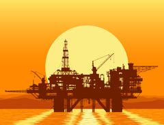 Sea oil rig. Offshore drilling platform. Piirros