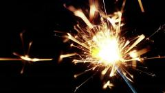 sparkler fireworks burning on a black background, congratulations, greetings - stock footage