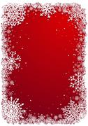 Christmas frame with snowflakes over red vecrtical background Stock Illustration