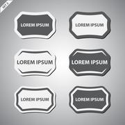 Grayscale labels - set Stock Illustration